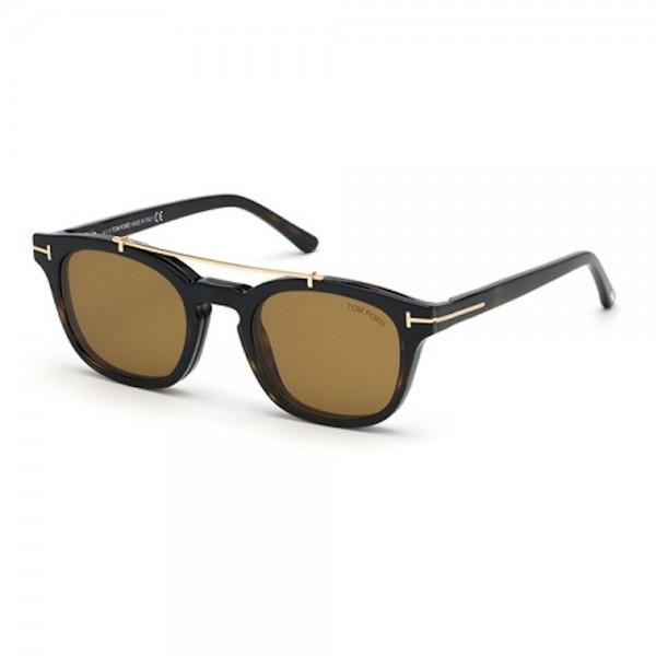 occhiali-da-vista-tom-ford-ft5532-b-52e-49-21-140-uomo-avana-scuro-lenti-blu-protect-con-clip-on-da-sole