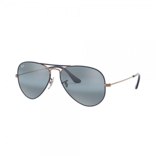 occhiali-da-sole-ray-ban-aviator-unisex-blu-lenti-blue-bl-mirror-gray-rb3025-9156aj-58-14-135