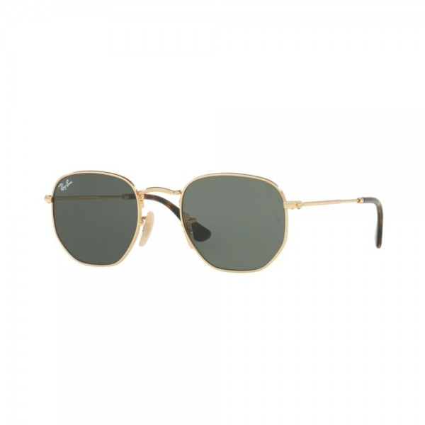 occhiali-da-sole-ray-ban-hexagonal-unisex-oro-lenti-grey-green-rb3548n-001-51-21-145