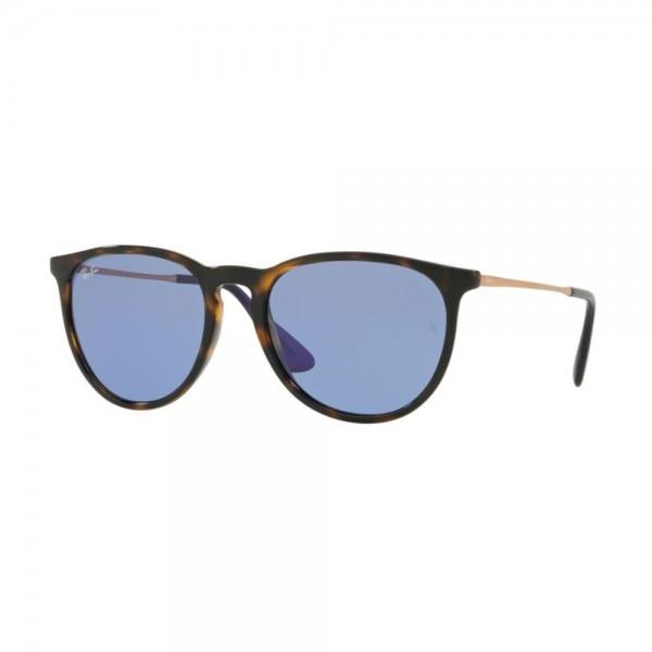 occhiali-da-sole-ray-ban-erika-unisex-avana-scuro-lucido-lenti-light-blu-rb4171-639276-54-18-145