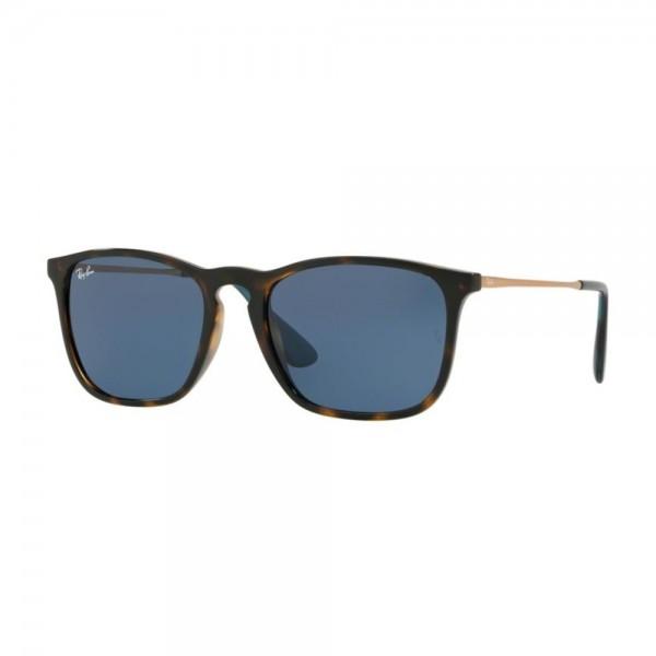 occhiali-da-sole-ray-ban-unisex-avana-scuro-lucido-lenti-dark-blu-rb4187-639080-54-18-145