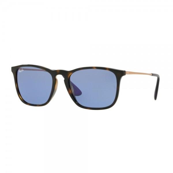 occhiali-da-sole-ray-ban-unisex-avana-scuro-lucido-lenti-light-blu-rb4187-639276-54-18-145