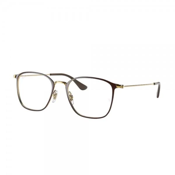 occhiali-da-vista-ray-ban-rx6466-2905-49-19-140-unisex-brown-on-arista