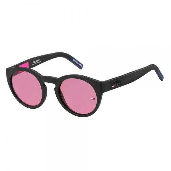 occhiali-da-sole-tommy-hilfiger-jeans-tj-0003-s-003-49-23-140-unisex-nero-opaco-lenti-pink